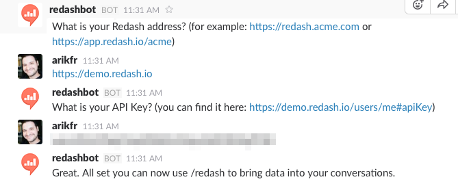 Slack chat example